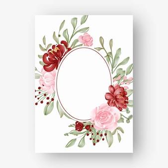 Овальная цветочная рамка с акварельными цветами красный и розовый