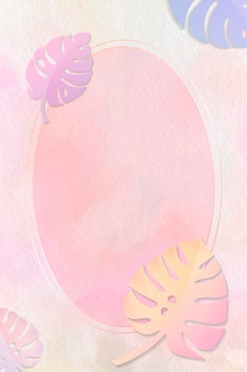 Oval frame on monstera background