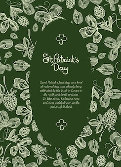 Oval frame sketch greeting card with many hop branches, blossom and greeting with traditional st. patricks day
