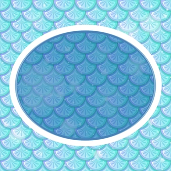 Oval frame template on blue fish scales background