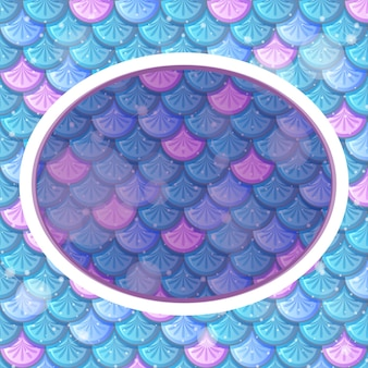 Oval frame template on blue rainbow fish scales background