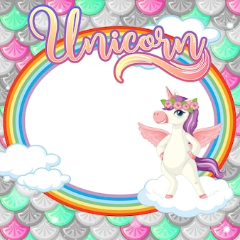 Oval frame template on colorful fish scales background with unicorn cartoon character