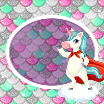 Oval frame template on colourful fish scales with cute unicorn cartoon character