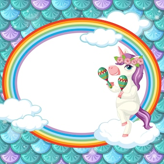 Oval frame template on green fish scales background with unicorn cartoon character