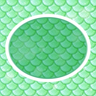 Oval frame template on pastel green fish scales seamless pattern