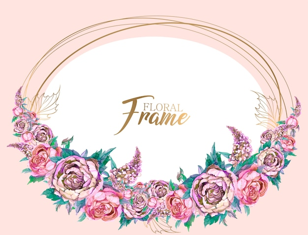 Oval frame with a garland of peonies and lilacs.