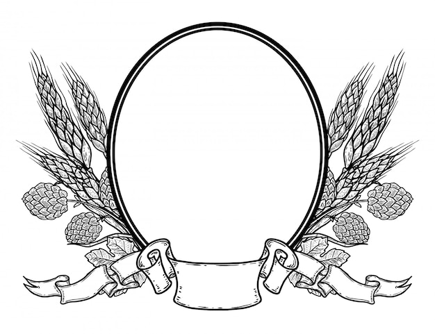 Oval frame with hand drawn hop and wheat. beer emblem template