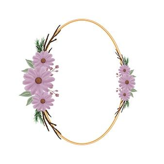 ピンクの水彩花と枝と楕円形のフレーム