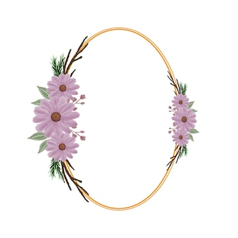 Oval frame with pink watercolor flower and branch