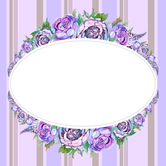 Oval frame with watercolor flowers