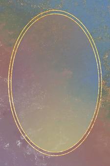 Cornice ovale in oro su sfondo colorato