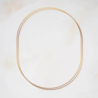 Oval gold frame on marble background vector