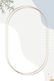 베이지색 최소한의 무늬 배경 벡터에 타원형 골드 프레임