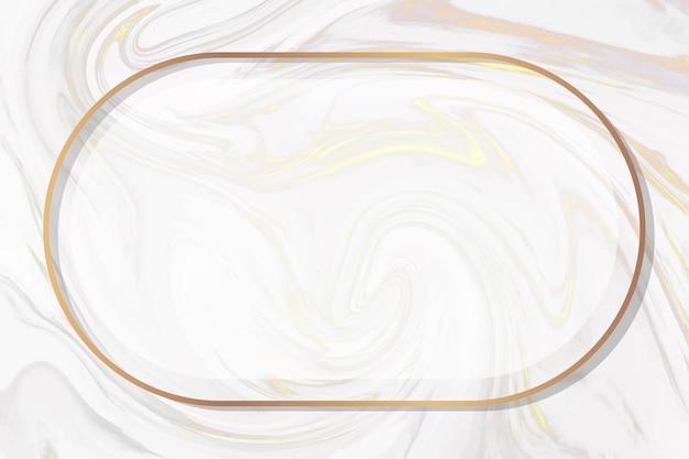 흰색 소용돌이 배경 벡터에 타원형 골드 프레임