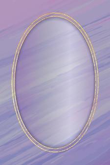 Oval gold frame on purple background