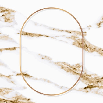 Oval gold frame on white marble background