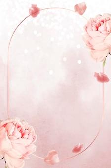 타원형 핑크 장미 프레임