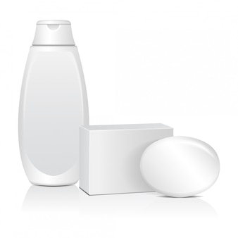 ホワイトボックスとコスミティックボトルの楕円形の石鹸。リアルなパッケージ