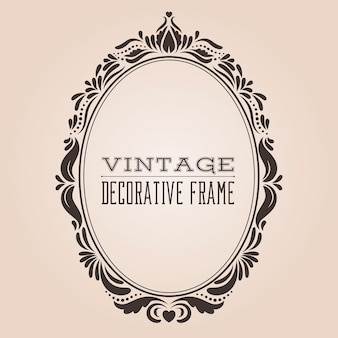 복고풍 패턴 빅토리아와 바로크 스타일의 장식 디자인이 있는 타원형 빈티지 화려한 테두리 프레임