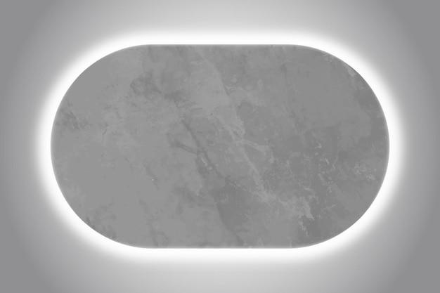 Modello di cornice ovale con luce al neon bianca