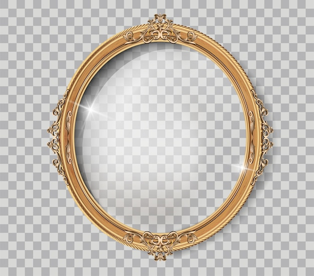 Oval wooden frame of gold photo frame with corner line floral for picture