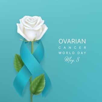 卵巣がん世界対日5月8日カード、ティールリボンの内側に白いバラ