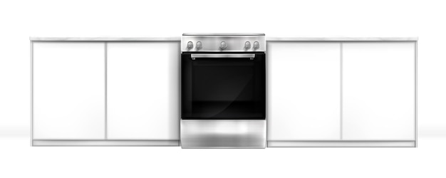 Oven in kitchen desk, electric built-in appliance, closed silver stove and cupboards front view. household technics, home tech equipment isolated on white background, realistic 3d vector mockup