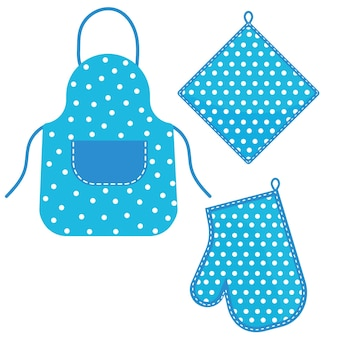 Oven mitt and oven mitt and apron hanging on the rack on hooks, color isolated vector illustration in the flat style