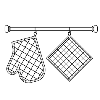 Oven mitt and oven mitt hanging on the rack on hooks, black contour isolated vector illustration in flat style.