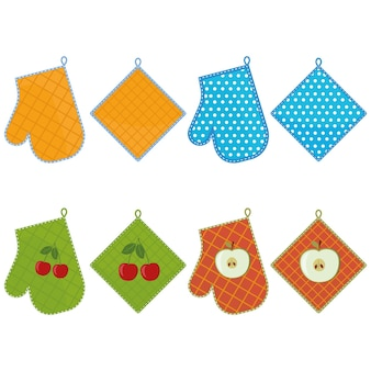 Oven mitts set, color vector illustration