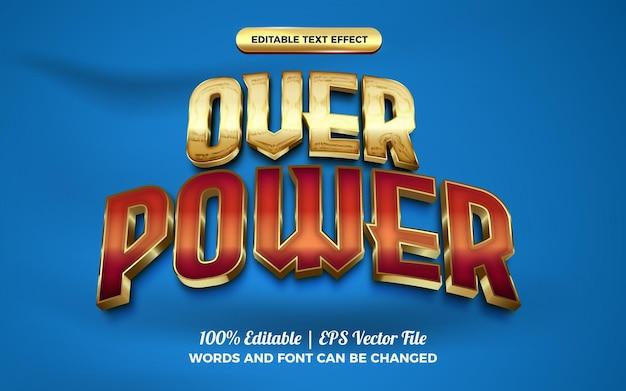 Глянцевый редактируемый текстовый эффект over power из красного золота