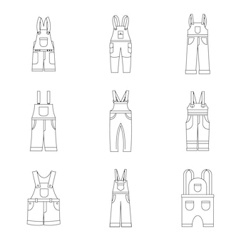 Overalls workwear icons set, simple style