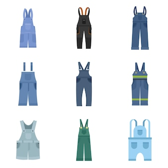 Overalls workwear icons set