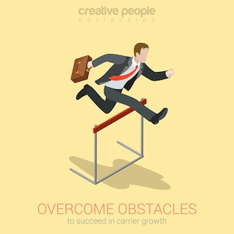 Overcome obstacle crisis risk avoid business problem trouble concept flat 3d web
