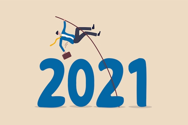 Overcome obstacle or solve business problem to pass hard time year 2021, pandemic causing economic recession concept, success businessman pole vault jumping over year number 2021.