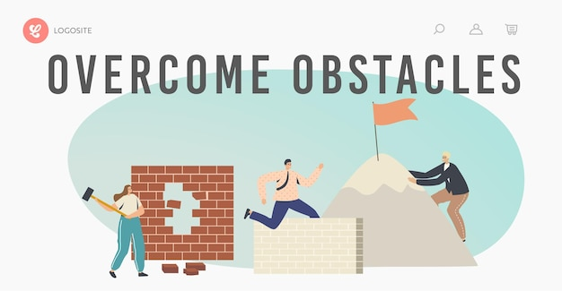 Overcome obstacles landing page template. characters developing skills, climbing on rock peak, jump over barriers, hitting wall. leadership, goals achievement. cartoon people vector illustration