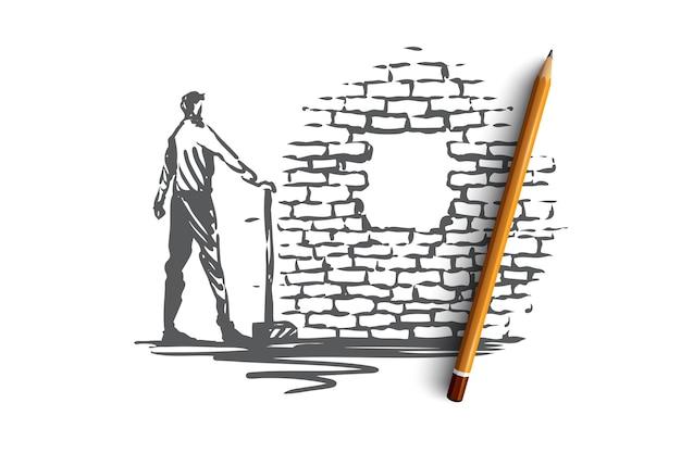 克服、目的、目標、達成の概念。立ってレンガの壁の穴を見ているshowelを持つ男。手描きスケッチイラスト