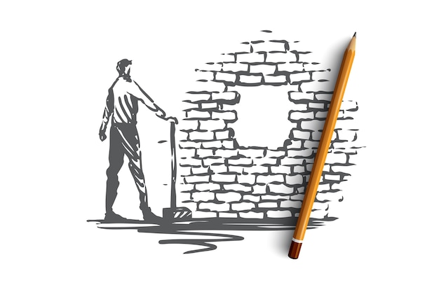 Overcoming, aim, goal, achievement  concept. man with showel standing and looking at hole in brick wall. hand drawn sketch  illustration