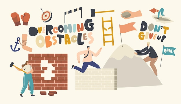Overcoming obstacles concept. characters seeking success, developing skills, climbing on rock peak, jump over barriers, hitting wall. leadership, goals achievement. cartoon people vector illustration