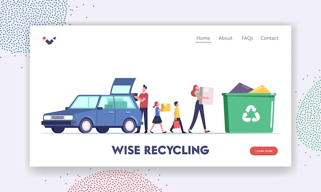 Overconsumption landing page template. family characters with children loading goods from car to litter bin full of useless things. people throw garbage for recycling. cartoon vector illustration