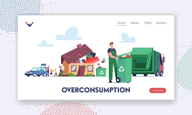 Overconsumption landing page template. family or customers characters loading goods from car to home full of useless things. janitor collect garbage for recycling. cartoon people vector illustration