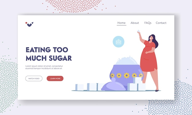 Overdose glucose eating problem, sugar consumption, addiction landing page template. tiny fat female character at huge sugar bowl addict of excessive sweet junk food. cartoon vector illustration