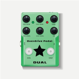 Overdrive pedal, top view of a guitar effect peda vector design isolated