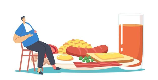 과식 뚱뚱한 남성 캐릭터가 거대한 접시에 앉아 전통적인 영어 전체 튀김 아침 식사를 제공합니다.