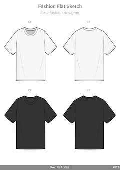 Overfit tee shirt fashion flat technical drawing template