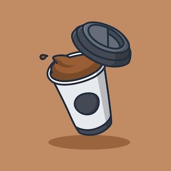 オーバーフロー コーヒー カップ イラスト デザイン 孤立したフード デザイン