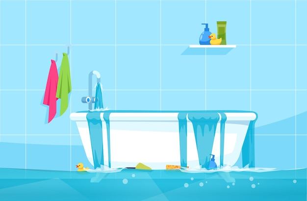 Overflowing bath semi   illustration. floating bathroom accessories and gels. water leak. bathroom flood. common household accidents  chartoon scene for commercial use