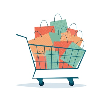 Overflowing shopping cart with paper bags. symbol of sales and discounts. black friday.