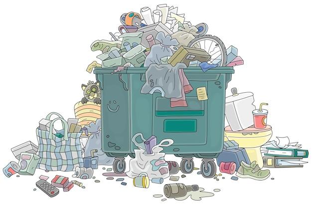 Переполненный мусорный бак с бытовым мусором и остатками