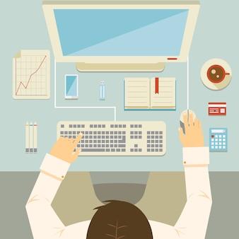 Prospettiva ambientale di un uomo d'affari che lavora alla sua scrivania usando una calcolatrice del grafico della carta di credito del mouse della tastiera del computer desktop e un'illustrazione di vettore del caffè
